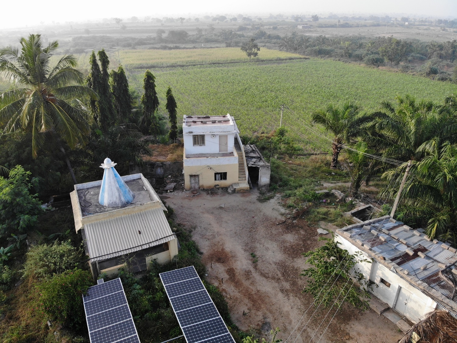 Arial view of DEAL farm Mevundi Gadag district with Solar panel. 27 April, 2020. 13:35.